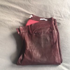 Frame burgundy leather pants 28
